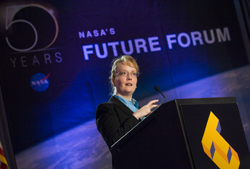 SAN JOSE, Calif. -- NASA Deputy Administrator Shana Dale announced Wednesday the launch of NASA Education TV (NASA eTV), a partnership with the National Institute of Aerospace (NIA) to produce new educational television programs for distribution on NASA Television and the Internet.